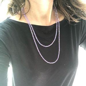 Swarovski crystal long purple beaded necklace